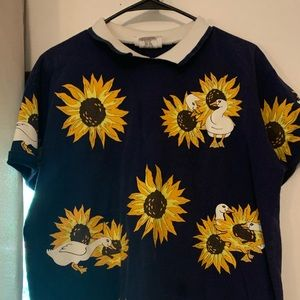 Vintage Duck and Sunflower Collared Shirt